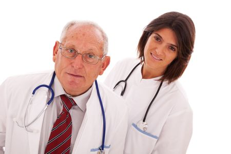 Team of doctors, with a older man and a young woman (isolated on white) Stock Photo - 5978939
