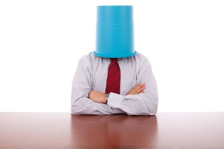businessman with a bucket on his head photo