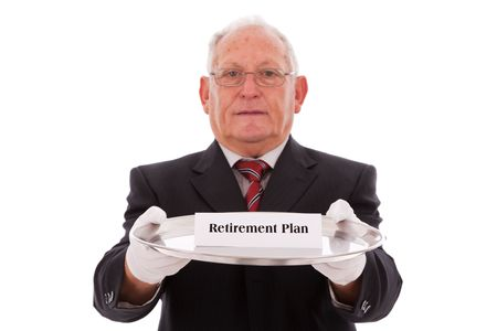 Senior businessman offering you the best solution for a retirement plan Stock Photo - 6031508
