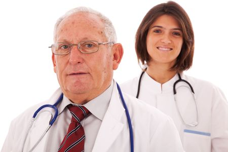 Team of doctors, with a older man and a young woman (isolated on white) photo