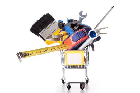 mix of construction tools inside a shopping cart (isolated on white) Stock Photo - 6326967