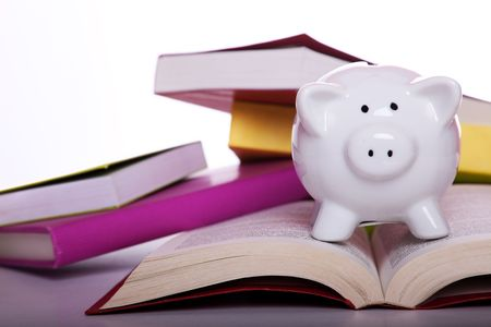 piggy bank over some colorful books (isolated on white) photo
