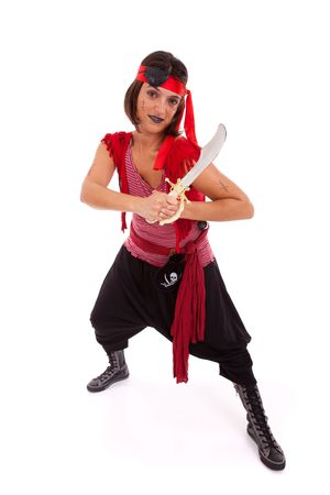 female pirate: happy young woman dressed with a pirate outfit (isolated on white)