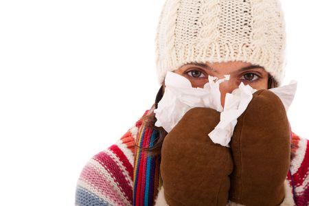 symptom: woman with flu symptom  (isolated on white) Stock Photo