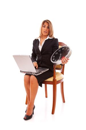 project deadline: businesswoman with small deadline for the project (isolated on white)