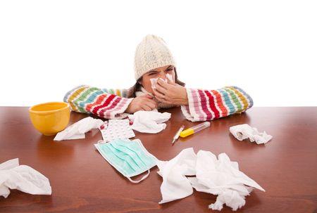 symptom: sad woman with flu symptom  (isolated on white)