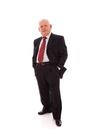 stand up: Senior businessman smiling (isolated on white) Stock Photo