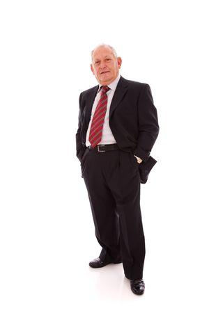 caballeros: Senior empresario sonriente (aislado en blanco) Foto de archivo