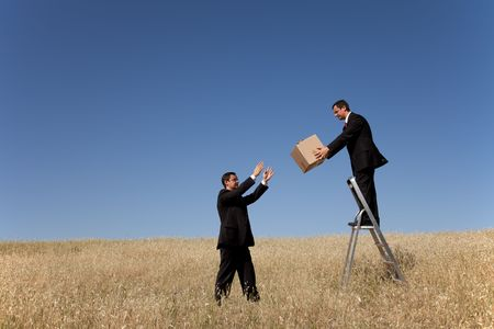 step ladder: businessman in a step ladder passing a box to the one on the field Stock Photo