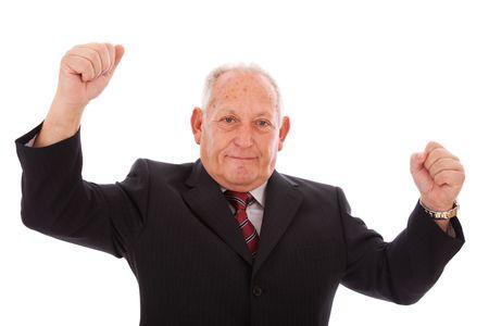 happy successful senior businessman (isolated on white) Stock Photo - 6333967