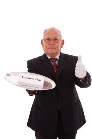 Senior businessman offering you the best solution for a insurance plan Stock Photo - 6333962