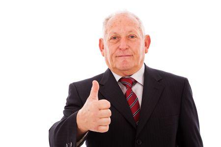 senior businessman gesturing OK (isolated on white) Stock Photo - 6333994
