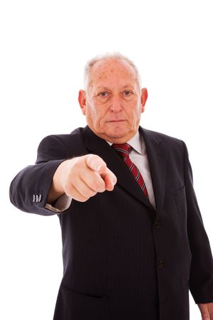 senior businessman pointing to you (isolated on white) photo