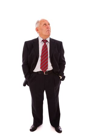 Senior businessman looking to the copy space(isolated on white) Stock Photo - 6333982