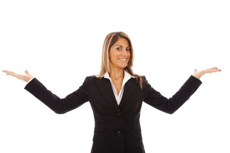 businesswoman with her hands showing something in the copyspace (isolated on white) photo