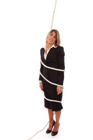 businesswoman tied with a rope (isolated on white) Stock Photo - 6516957
