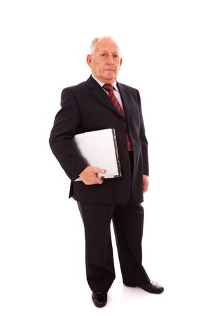 senior businessman holding a laptop (isolated on white) Stock Photo - 6516961