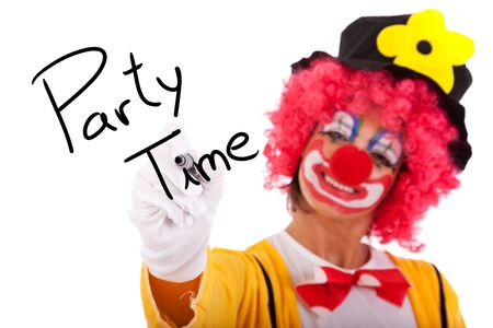funny clown writing Party Time on the whiteboard Stock Photo - 6562089