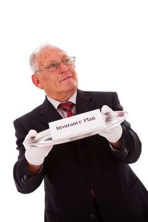 Senior businessman offering you the best solution for a insurance plan Stock Photo - 6562123
