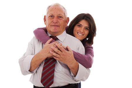 pere et fille: heureux p�re et fille, donnant une accolade de tendresse Banque d'images