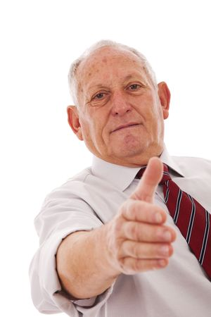 deal making: senior businessman making a deal with you (isolated on white) Stock Photo