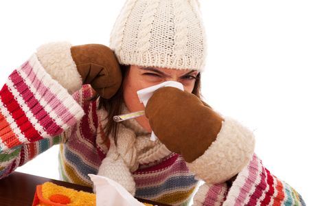 symptom: sad woman with flu symptom and a thermometer in her mouth (isolated on white) Stock Photo