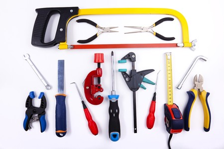 a mix of construction tools over a white background Stock Photo - 6954316