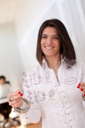 Happy businesswoman at her office showing a firewall schema (selective focus with shallow DOF). photo