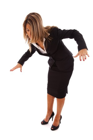 bend over: businesswoman loosing her balance (isolated on white) Stock Photo