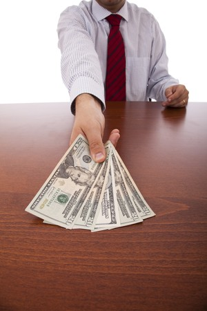 businessman at the office giving money Stock Photo - 6954389