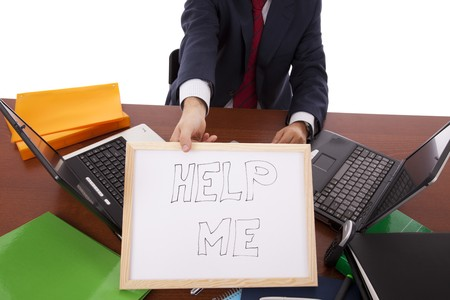 businessman asking for help (hiding his head) photo