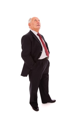 Senior businessman looking to the copy space(isolated on white) Stock Photo - 6953634