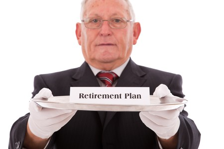 retirement savings: Senior businessman offering you the best solution for a insurance plan Stock Photo