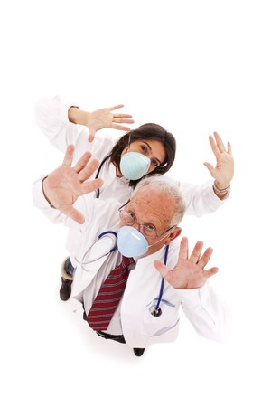 team doctors alerting you with a protection mask photo