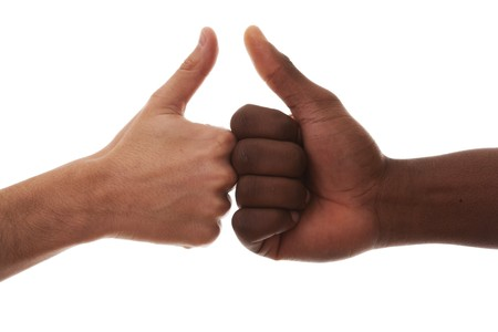 multi race: two hand from a caucasian and african men