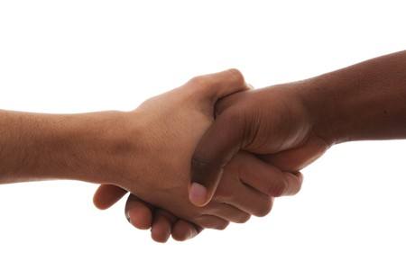 black handshake: multiracial handshake from an african and caucasian men hands (isolated on white)