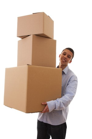 young man holding a stack of package parcels (isolated on white) Stock Photo - 6953631