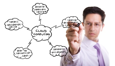 cloudshape: Businessman drawing a Cloud Computing schema on the whiteboard (selective focus)