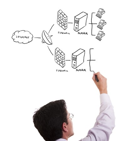 businessman drawing a security plan for a firewall system (selective focus) Stock Photo - 6953488