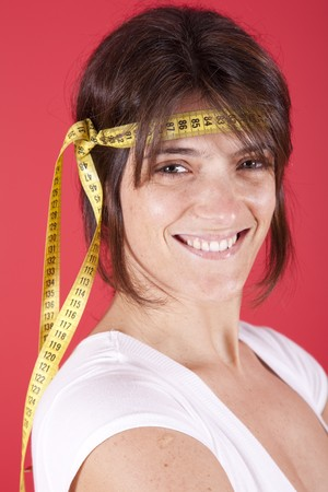 young woman fighting the overweight problems photo