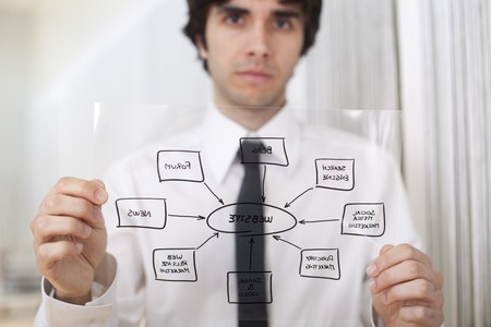 ebusiness: Businessman holding a website diagram solution (selective focus with shallow DOF).