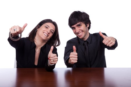Happy men and woman at the office gesturing OK Stock Photo - 7810846