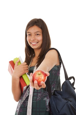 Teenager ready to go back to school (selective focus) photo