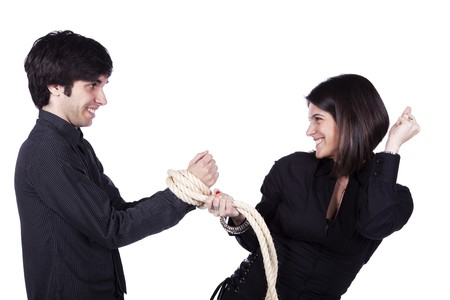woman making a man her prisoner with a rope photo