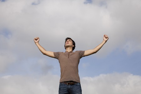 young teenager with the arms outstretched in outdoor Stock Photo - 7810430