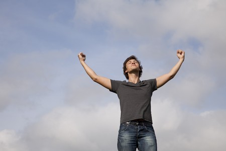 young teenager with the arms outstretched in outdoor Stock Photo - 7810713
