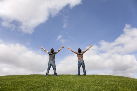two young teenager enjoying the fresh air in the park Stock Photo - 7812146