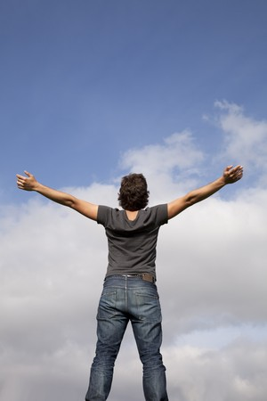 young teenager with the arms outstretched in outdoor Stock Photo - 7810487