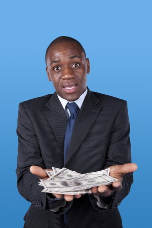 african businessman surprised with after winning a lot of money photo