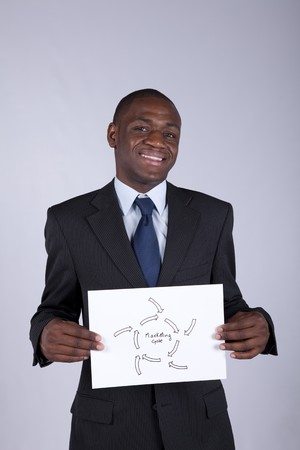 african businessman holding a marketing diagram solution photo